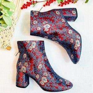 GIANNI BINI Red & Blue Floral Block Boots
